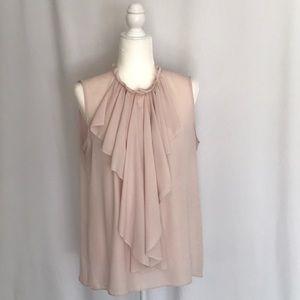 Tahari Snap Ruffle Pink Sleeveless Blouse L